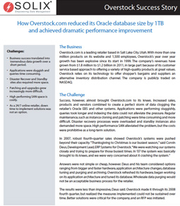 How Overstock.com reduced its Oracle database size by 1TB and achieved dramatic performance improvement