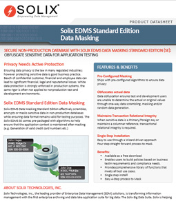 Solix Enterprise Data Management Suite - Standard Edition Data Masking