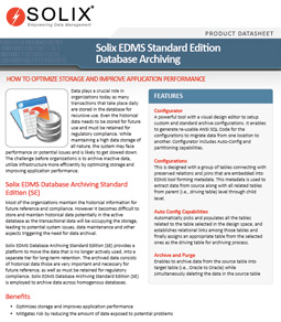 Solix Enterprise Data Management Suite Standard Edition Database Archiving