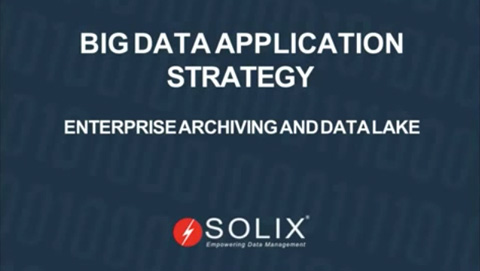 Big Data Application Strategy Enterprise Archiving and Data Lake